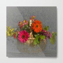 Flower Basket Still Life Metal Print