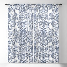 damask blue and white Sheer Curtain