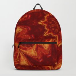 Red Supernova - Abstract Kaleidoscope Art by Fluid Nature Backpack