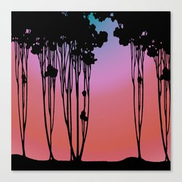 Forest Silhouette Sherbet Sunset by Seasons K Designs for Salty Raven Canvas Print