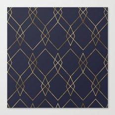 Gold Geometric Navy Blue Canvas Print
