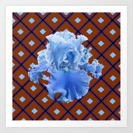 Chocolate Brown & Blue Iris Pattern Art Art Print