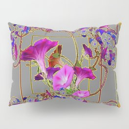 Grey Decorative Blue Purple Vining Flowers Patterns Art Pillow Sham