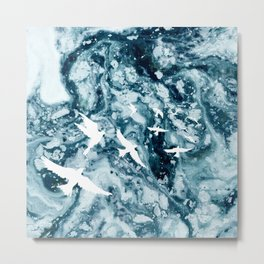 Birds on the ocean Metal Print