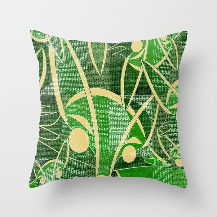 Midcentury Green Fox Throw Pillow