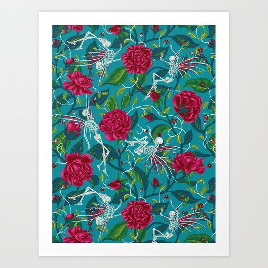 Death of Summer (carmine and blue) Art Print