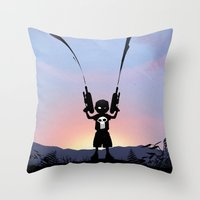 punisher Throw Pillows featuring Punisher Kid by Andy Fairhurst Art