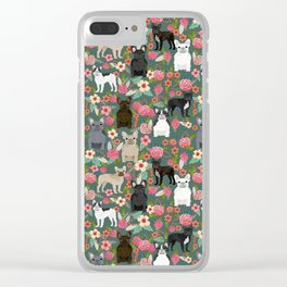 French Bulldog florals mixed coat colors dog breed pet must have gifts frenchies Clear iPhone Case