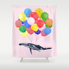 Flying Whale with Colourful balloons in Pink Shower Curtain