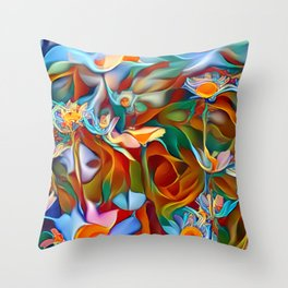 Psychedelic Daises Throw Pillow