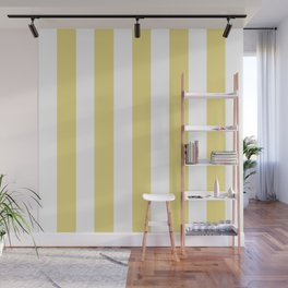 Flax yellow - solid color - white vertical lines pattern Wall Mural
