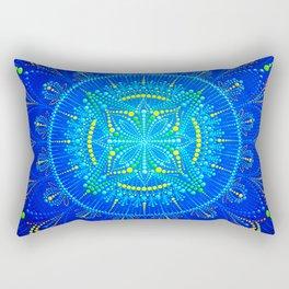Blue mandala painting on canvas Rectangular Pillow