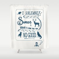 marauders Shower Curtains featuring I Solemnly Swear... by Shelby Ticsay