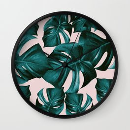 Monstera Leaves Pattern #4 #tropical #decor #art #society6 Wall Clock