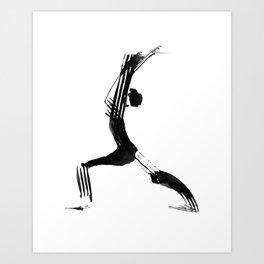 Moder black and white, minimalist ink figure yoga drawing, yoga illustration, yoga pose, yoga art Art Print