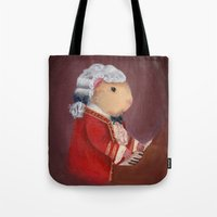 mozart Tote Bags featuring Guinea Pig Mozart by When Guinea Pigs Fly