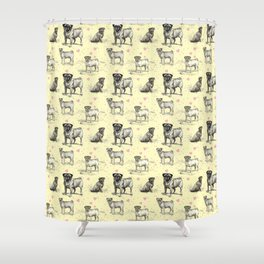 LOVE PUGS - Pug Dogs & Pastel Hearts Shower Curtain