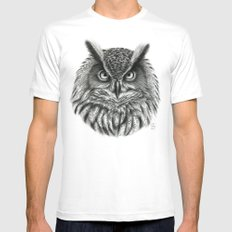 Owl G2012-046bis White Mens Fitted Tee MEDIUM