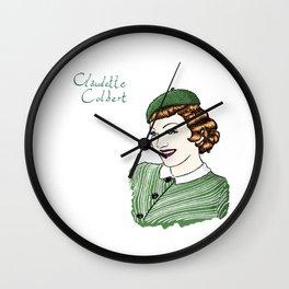 Claudette Colbert Portrait Wall Clock