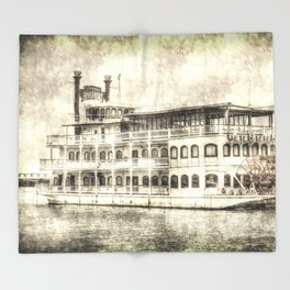 New Orleans Paddle Steamer Vintage Throw Blanket