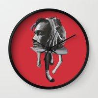 sad Wall Clocks featuring Sad by fabiotir