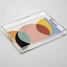 Geometric Harmony - Vintage Rainbow Colors Acrylic Tray