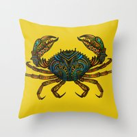 crab Throw Pillows featuring CRAB by Claire Cousins