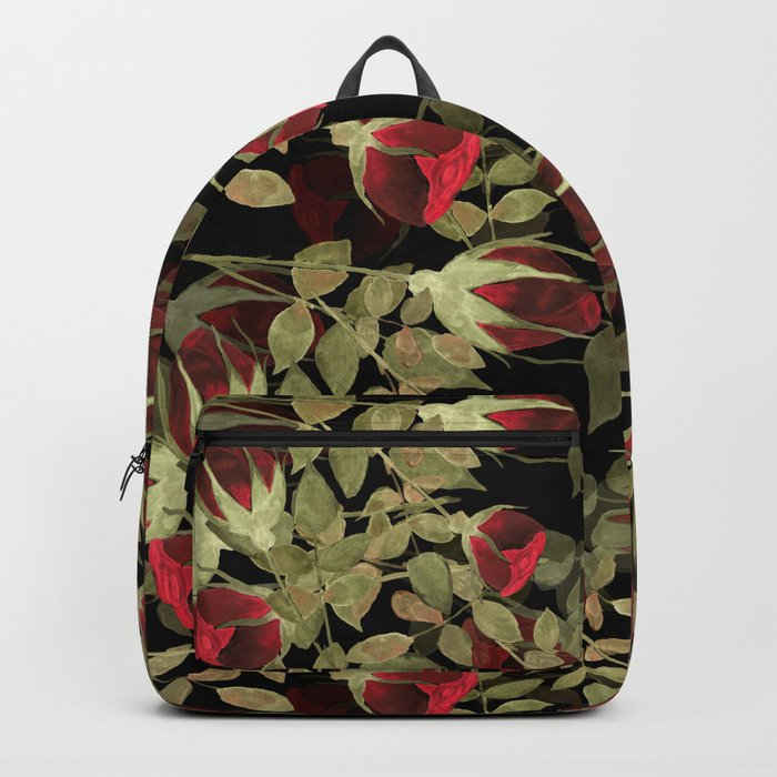 Seamless watercolor roses pattern on black Backpack