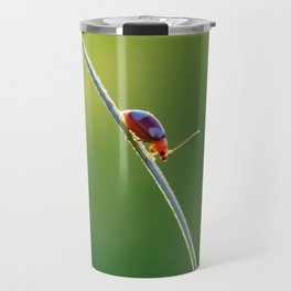Little red bug perching on grass Travel Mug