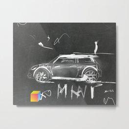 Car scribble sketch mini Metal Print
