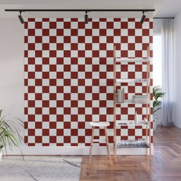 Vintage New England Shaker Barn Red and White Milk Paint Jumbo Square Checker Pattern Wall Mural