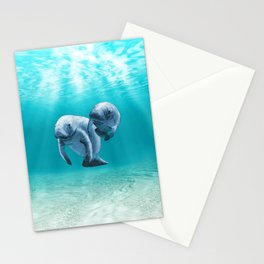 Two Manatees Swimming Stationery Cards