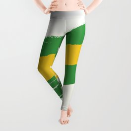 Abstract Brazil Flag Design Leggings