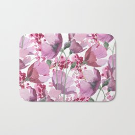 Watercolor lavender pink hand painted floral Bath Mat