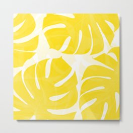 Mellow Yellow Monstera Leaves White Background #decor #society6 #buyart Metal Print