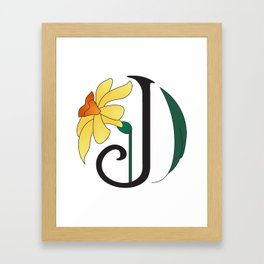 Ruby's Flower Initials - J Framed Art Print
