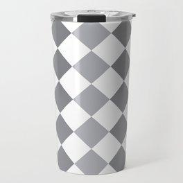 Gray and white square pattern Travel Mug