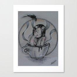 sentimientos ahogados en café Canvas Print