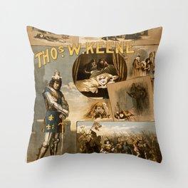 Vintage Richard III Theatre Poster Throw Pillow