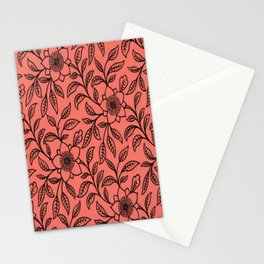 Vintage Lace Floral Peach Echo Stationery Cards