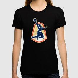 Basketball Player Dunk Rebound Ball Retro T-shirt