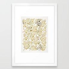 Gold Olive Branches Framed Art Print