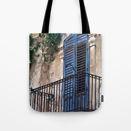 Blue Sicilian Door on the Balcony Tote Bag