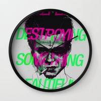 tyler durden Wall Clocks featuring Tyler the Destroyer by Davies Babies