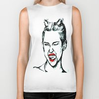 miley cyrus Biker Tanks featuring Miley Cyrus  by Clairenisbet