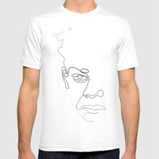 Half-a-Basquiat: One line MEDIUM Mens Fitted Tee White