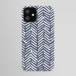 Boho Herringbone Pattern, Navy Blue and White iPhone Case