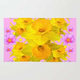 Yellow Daffodils & Pink Roses Abstract Rug