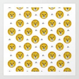 Lion cute pattern nursery kids geometric triangle animal safari Art Print