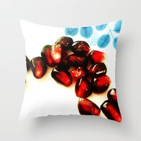 pomegranate Throw Pillows featuring Pomegranate by Yilan